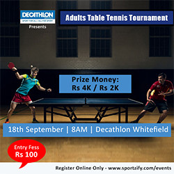 Adults Table Tennis Tournament - Decathlon Whitefield